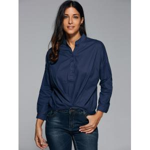 Ruched Button Design Asymmetrical Blouse -
