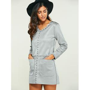 Pocket Design Faux Suede Long Sleeve Shift Dress - GRAY 4XL