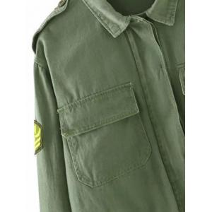 Patch Cropped Shirt Jacket with Pocket - ARMY GREEN S