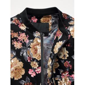 Zip Up Stand Collar Flowers Pattern Plus Size Jacket -