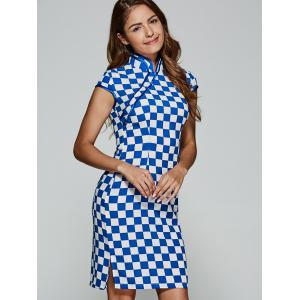 Plaid Midi Cheongsam Dress -