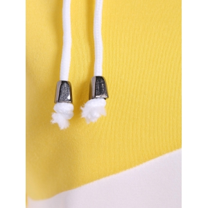 Pullover Drawstring Color Block Yellow Hoodie - YELLOW XL