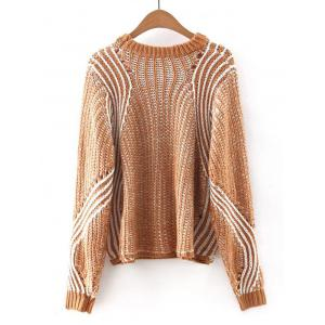 Hollow Out Crocheting Striped Chunky Sweater -