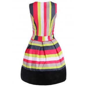 Colorful Striped Sleeveless Swing Dress -