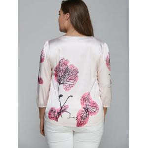 Floral Print Ruched Plus Size Blouse - PINK 5XL