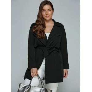 Overlay Tied Plus Size Trench Coat -