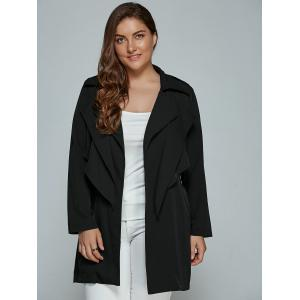 Overlay Tied Plus Size Trench Coat - BLACK 4XL