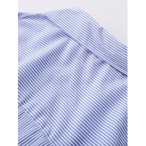 Asymmetric Sleeve Striped Shirt with Button -