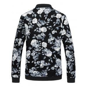 Floral Print Plus Size Zipper Long Sleeves Jacket -