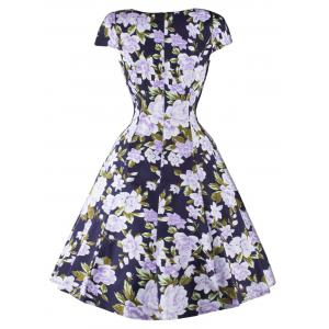 Floral Cap Sleeve Swing Fit and Flare Dress - BLUE 2XL