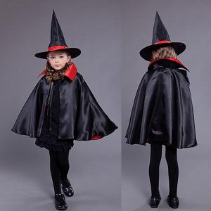 Halloween Kids Cosplay Witch Cloak Hat Costume Set -