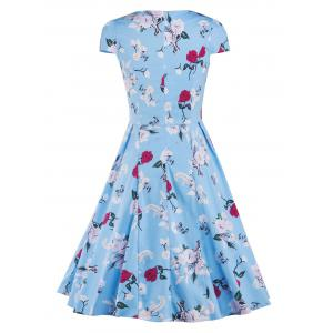 Cap Sleeve Vintage Floral Print Swing Fit and Flare Dress - BLUE XL