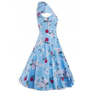 Cap Sleeve Vintage Floral Print Fit and Flare Dress - BLUE XL