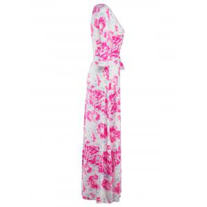 3/4 Sleeve Wrap Abstract Print Maxi Dress - ROSE RED 2XL