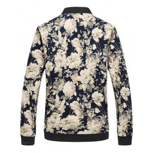 3D Flower Pattern Plus Size Zipper Stand Collar Jacket -