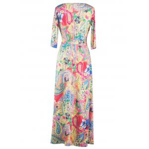 Wrap Patterned Maxi Dress with Sleeves - YELLOW 2XL