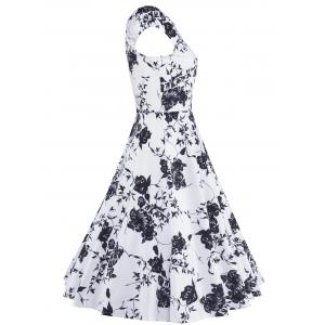 Floral Print Vintage Swing Fit and Flare Dress -