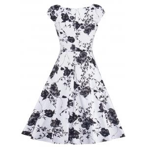 Floral Print Vintage Fit and Flare Dress - WHITE/BLACK 2XL