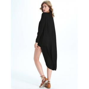 Faux Wrap V Neck Long Asymmetric Blouse - BLACK 2XL