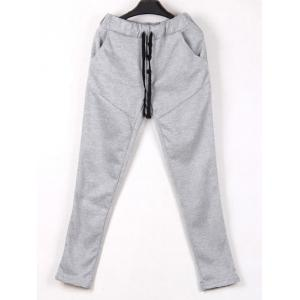 Drop Crotch Button Drawstring Harem Pants - LIGHT GRAY XL