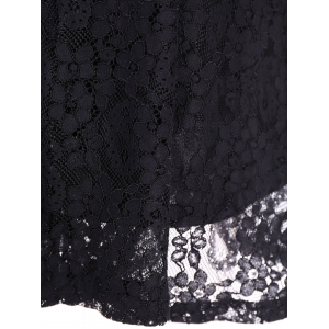 Mini Lace A Line Dress with Sleeves - BLACK 3XL