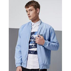 Letter Embroidery Zip-Up Bomber Jacket - AZURE L