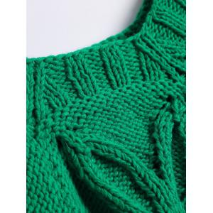 Scoop Neck Flower Jacquard Hand-Knitted Sweater -