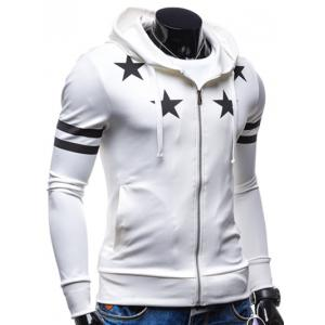Star Print Zip Up Drawstring Hoodie -