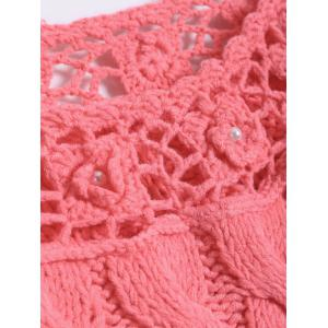 Hollow Out Beaded Twist Jacquard Hand-Knitted Sweater -