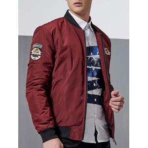 Zip-Up Patch Design Bomber Jacket -