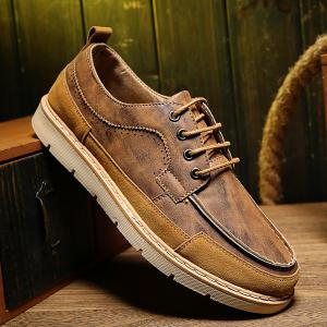 Lace-Up Stitching Suede Spliced Casual Shoes -