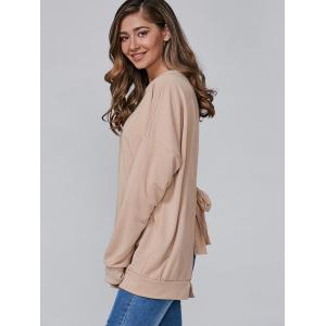 Open Back Bowknot Loose Sweatshirt -