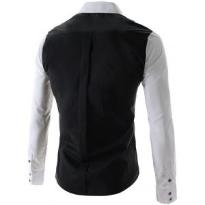 One Pocket Design Long Sleeves Slimming Shirt - BLACK 2XL