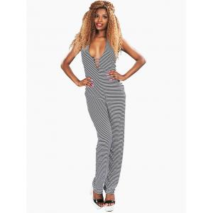 Halter Striped Backless Cut Out Jumpsuit -