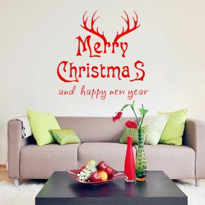 Merry Christmas Deer Head Removeable Wall Sticker - RED