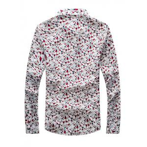 Printed Long Sleeve Button-Down Shirt - RED 3XL