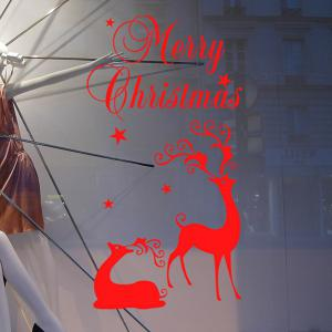 Merry Christmas Deers Removeable Window Glass Wall Sticker -