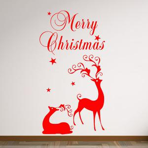 Merry Christmas Deers Removeable Window Glass Wall Sticker - RED