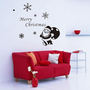 Christmas Santa Claus Gift Removeable Window Glass Wall Sticker - BLACK