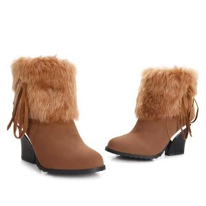 Chunky Heel Faux Fur Chain Short Boots -