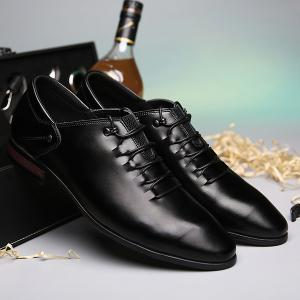 Lace-Up Pointed Toe PU Leather Casual Shoes - BLACK 43