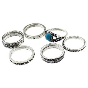 Faux Turquoise Circle Jewelry Fingertip Ring Set -