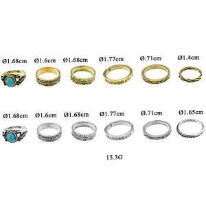 Faux Turquoise Circle Jewelry Fingertip Ring Set - SILVER ONE-SIZE
