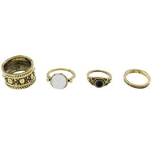 Faux Opal Circle Jewelry Fingertip Ring Set - GOLDEN ONE-SIZE