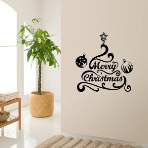 Merry Christmas Bell Removeable Window Glass Wall Sticker - BLACK