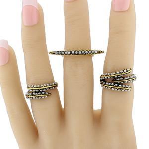 Faux Pearl Leaf Jewelry Ring Set -