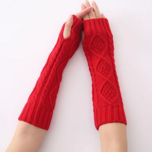 Christmas Winter Rhombus Crochet Knit Arm Warmers - RED