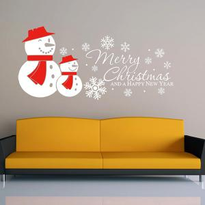 Merry Christmas Snow Man Removeable Wall Sticker - WHITE