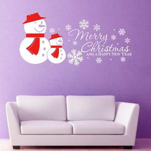 Merry Christmas Snow Man Removeable Wall Sticker -