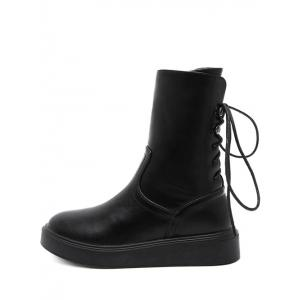 Tie Up Zip Platform Short Boots - BLACK 39